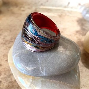 Hand Crafted Swirled Glass Ring Red